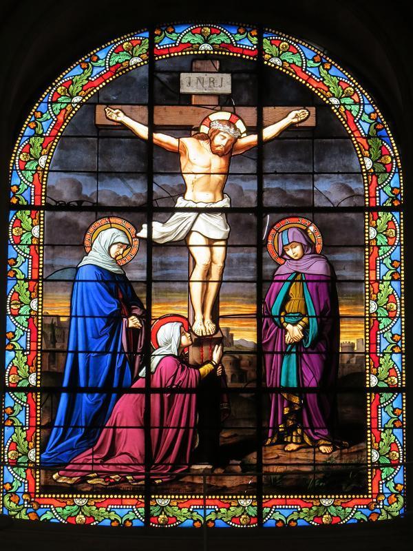 Photos de Vitraux - Marie et Jean au pied de la croix